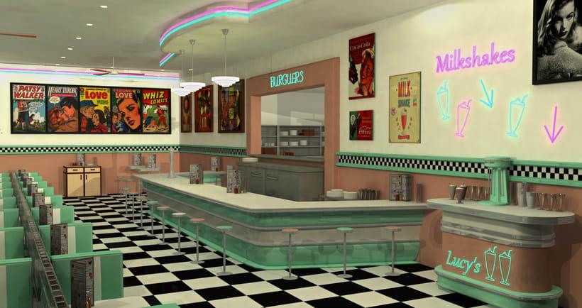 50s Diner 3D Modeling 0