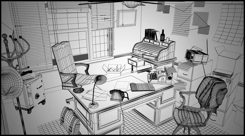 Oficina de detective de los años 70 1