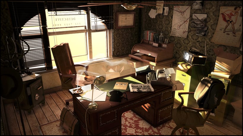 Oficina de detective de los años 70 0
