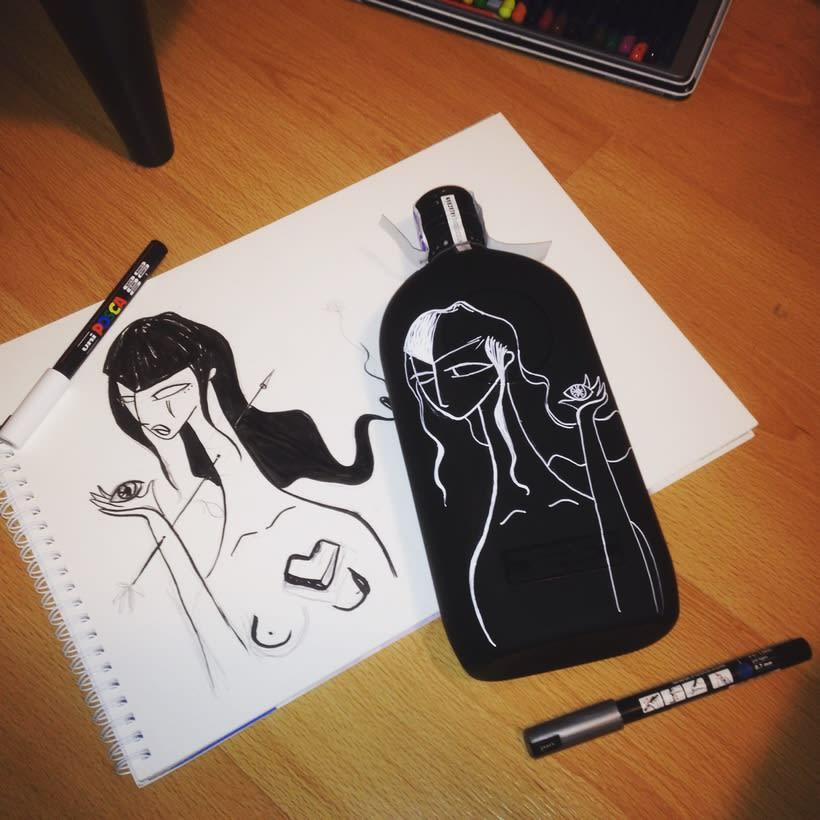 Tequila y Mezcal Alacrán, botellas ilustradas 3