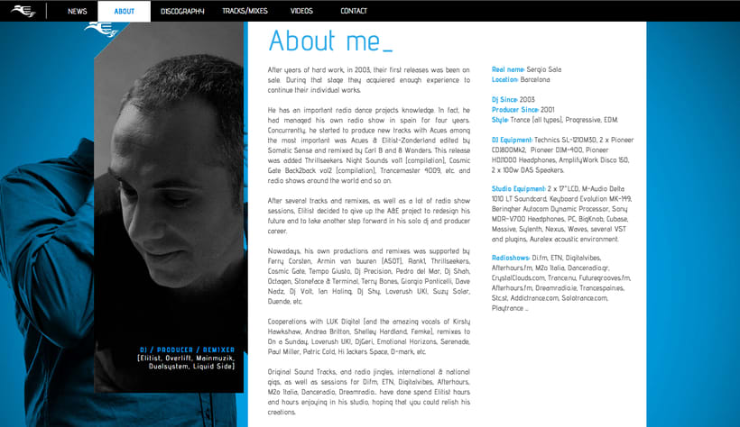 Diseño web / Muse www.elitist-productions.com 0