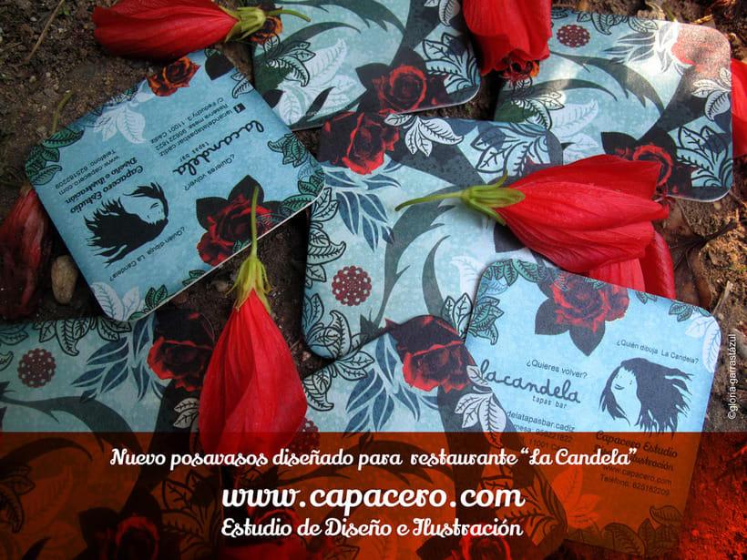 Posavasos-tarjeta para restaurante la Candela. Cádiz 0