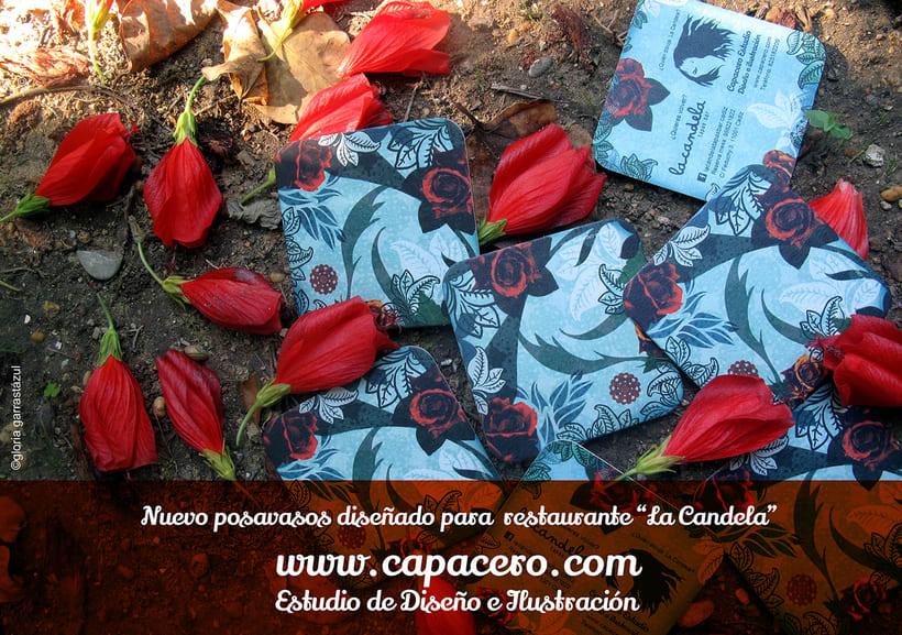 Posavasos-tarjeta para restaurante la Candela. Cádiz 1