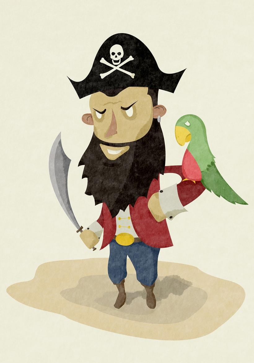 Ilustraciones Pirata pata de palo . Fábula infantil 0
