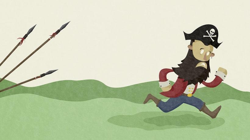 Ilustraciones Pirata pata de palo . Fábula infantil 3