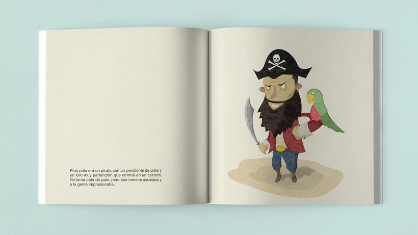 Ilustraciones Pirata pata de palo . Fábula infantil 4