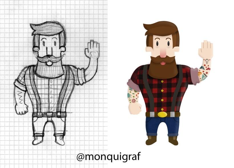 Proceso de coloreado de un personaje Leñador Hipster en Illustratrator 0