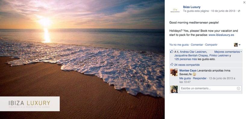 Ibiza Luxury - Gestión de redes sociales en Facebook, Twitter, Instagram y A Small World así como comunicación con prensa. 2