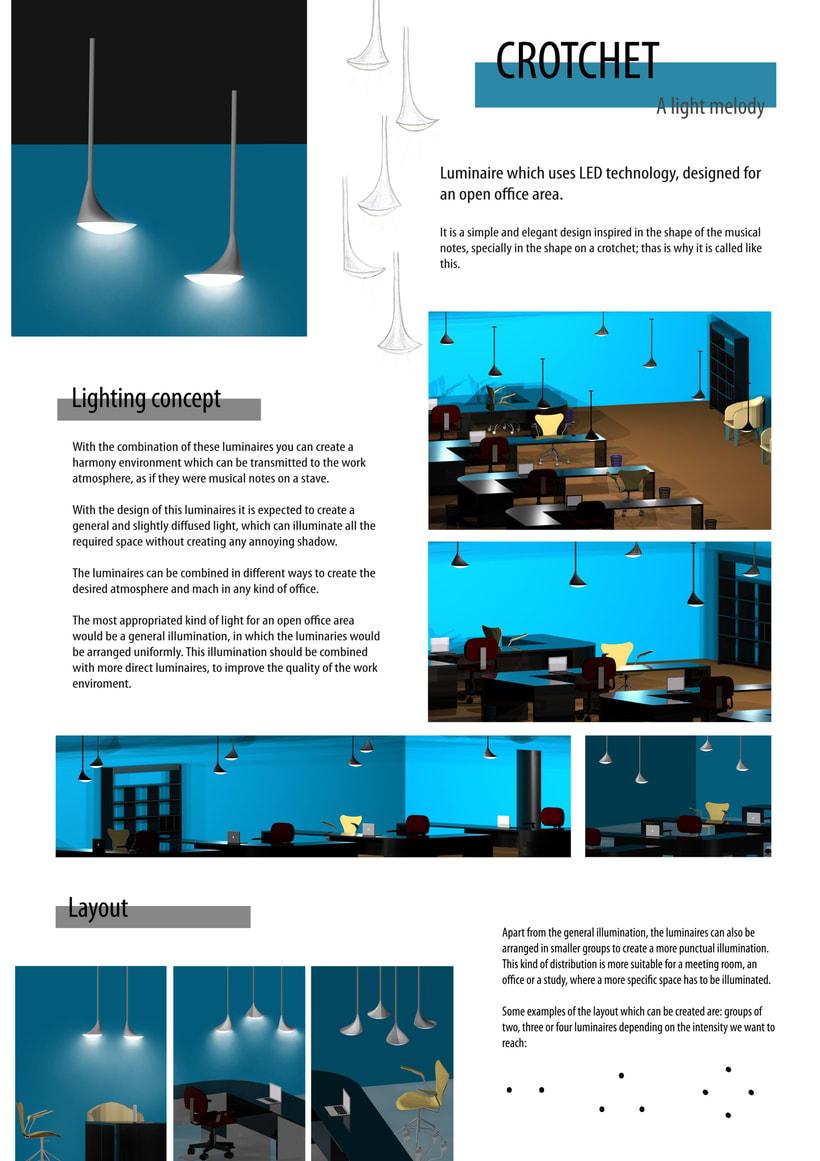 Concurso Auralight: Luminaria para oficina de planta abierta. Clasificada finalista. 1