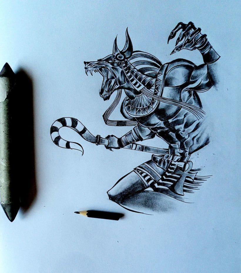Anubis sombreado lápiz  0