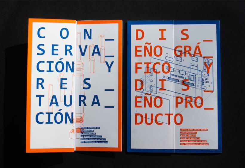 Diseño conjunto con Javi Nistal de folletos para la Escuela Superior de Arte del Principado de Asturias 0