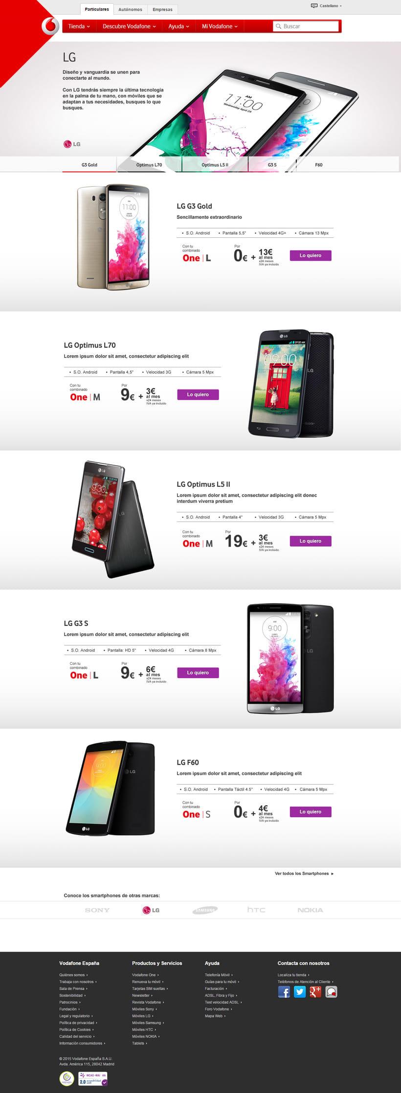 Landings de marca para Vodafone 1