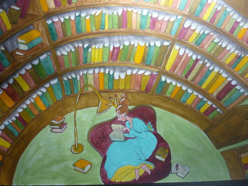 Reina egoista,en la biblioteca,ilustracion para libro infantil. 0