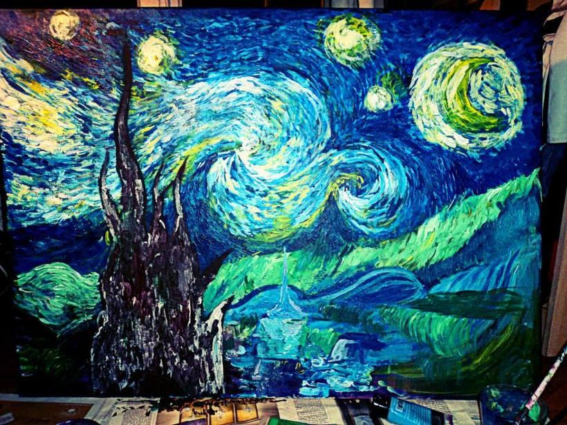 noche estrellada, acrílicos -1