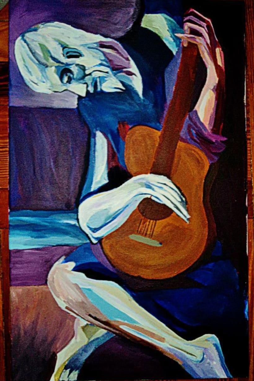 El guitarrista ciego, acrílicos -1