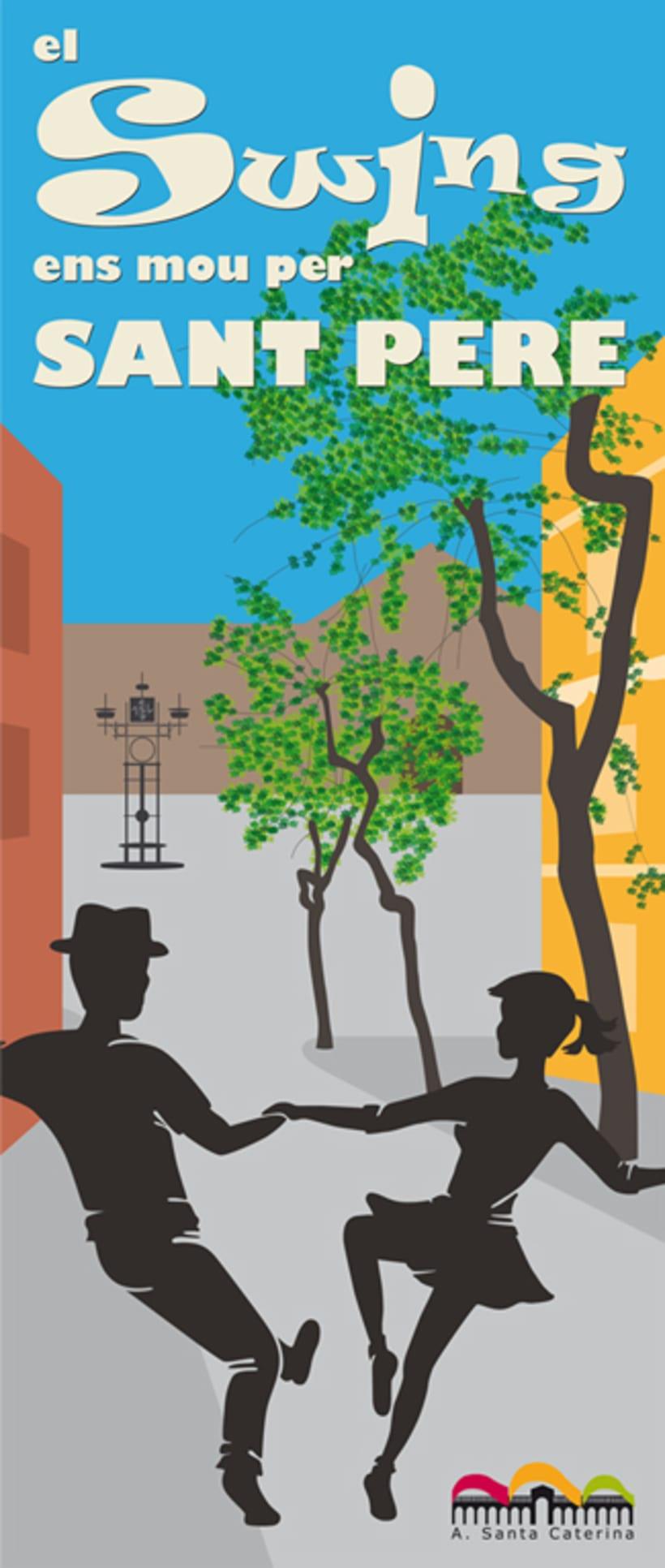 """Diseño del cartel """"El Swing ens mou per Sant Pere"""".  0"""
