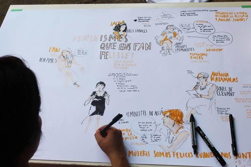 """Live drawing """"Els feminismes que ens fan felices"""" 4"""