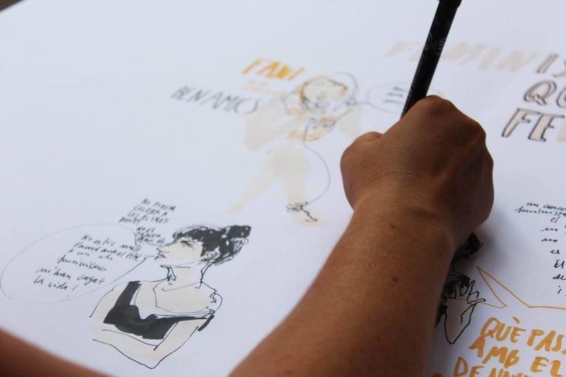 """Live drawing """"Els feminismes que ens fan felices"""" 3"""
