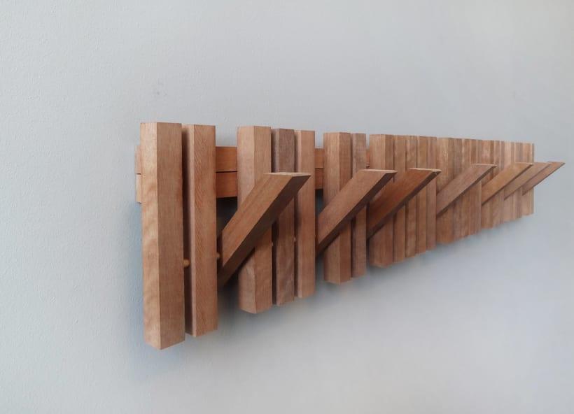 MARIMBA colgador pared en madera _ wooden coat hanger 2
