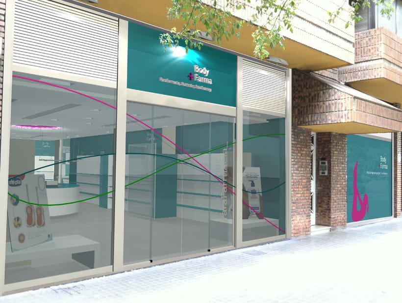 Proyecto Parafarmacia. Modelado 3d, iluminación y fotomontaje. -1