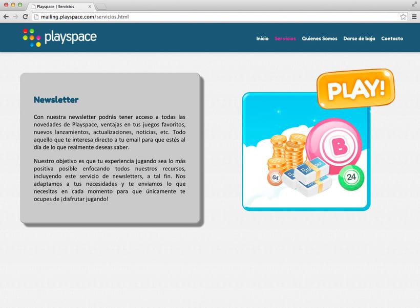 Landingpage para el mailing de Playspace 0