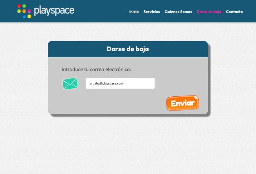 Landingpage para el mailing de Playspace 1