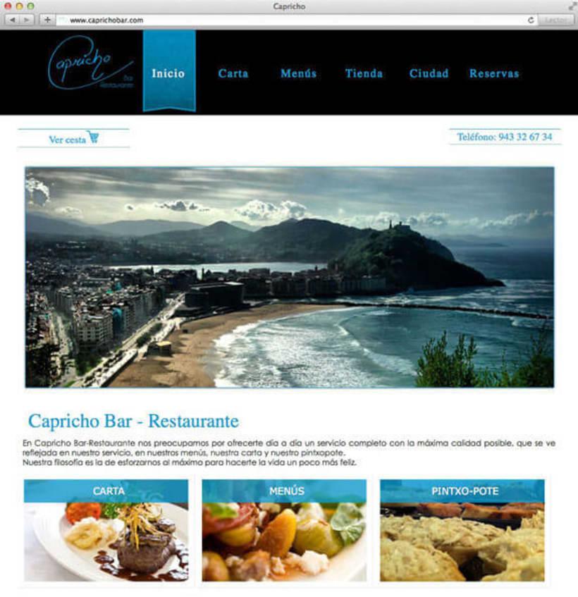 Desarrollo web para Capricho Bar Restaurante 0