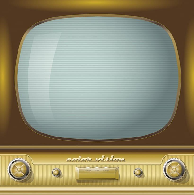 Vintage TV, ilustración vectorial 0