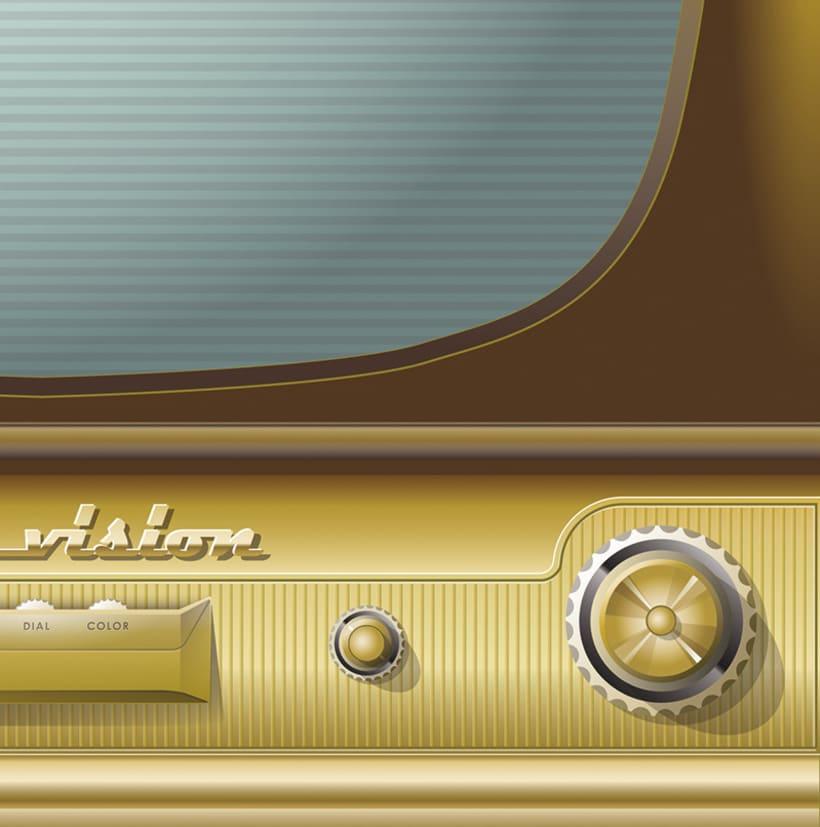 Vintage TV, ilustración vectorial 1