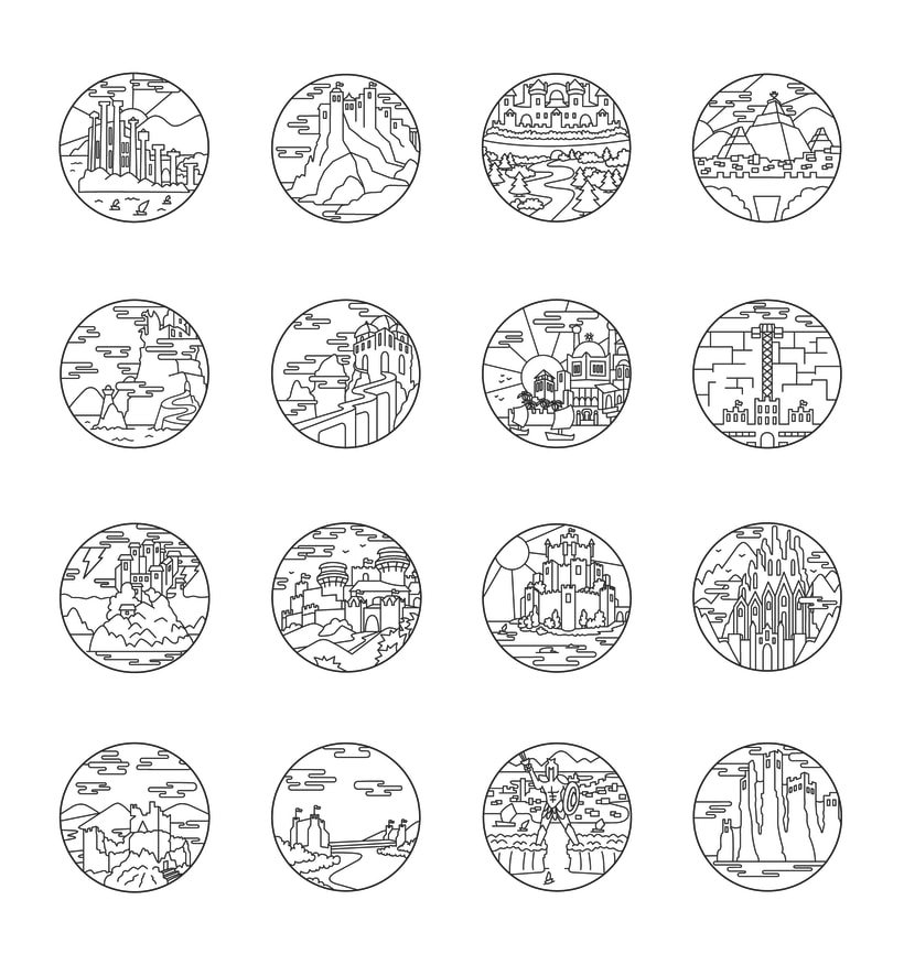 Game of Thrones landscapes - Illustrated icon set 1