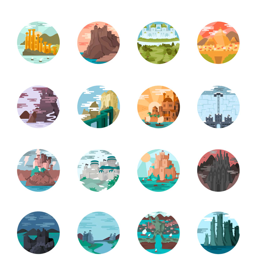 Game of Thrones landscapes - Illustrated icon set 2