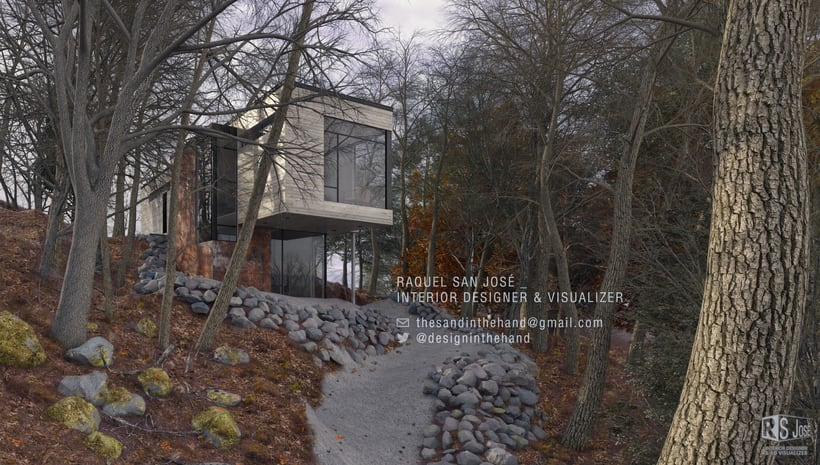3D basado en la casa Val des Monts Cottage de  Christopher Simmonds Architects en Canadá 2