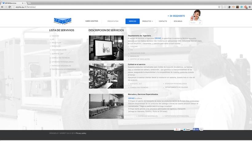 diseño WEB para la empresa:  ORYMO S.A  2