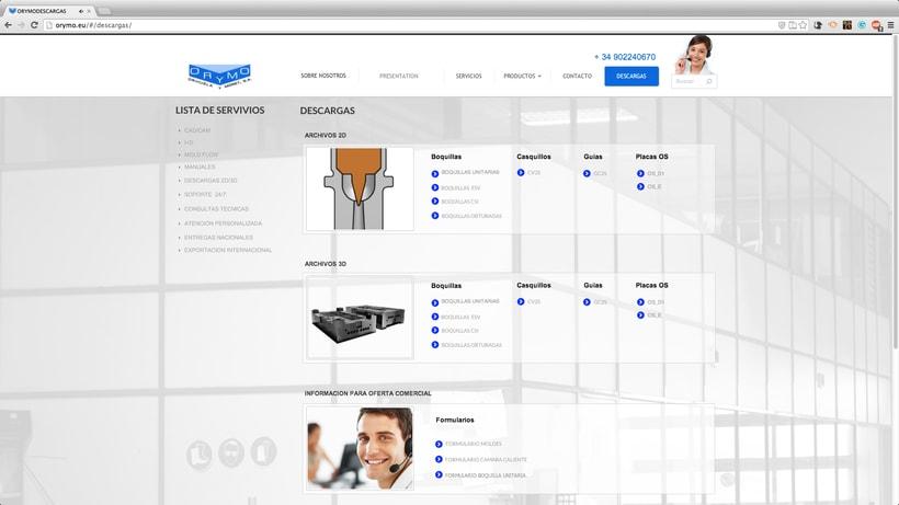 diseño WEB para la empresa:  ORYMO S.A  5