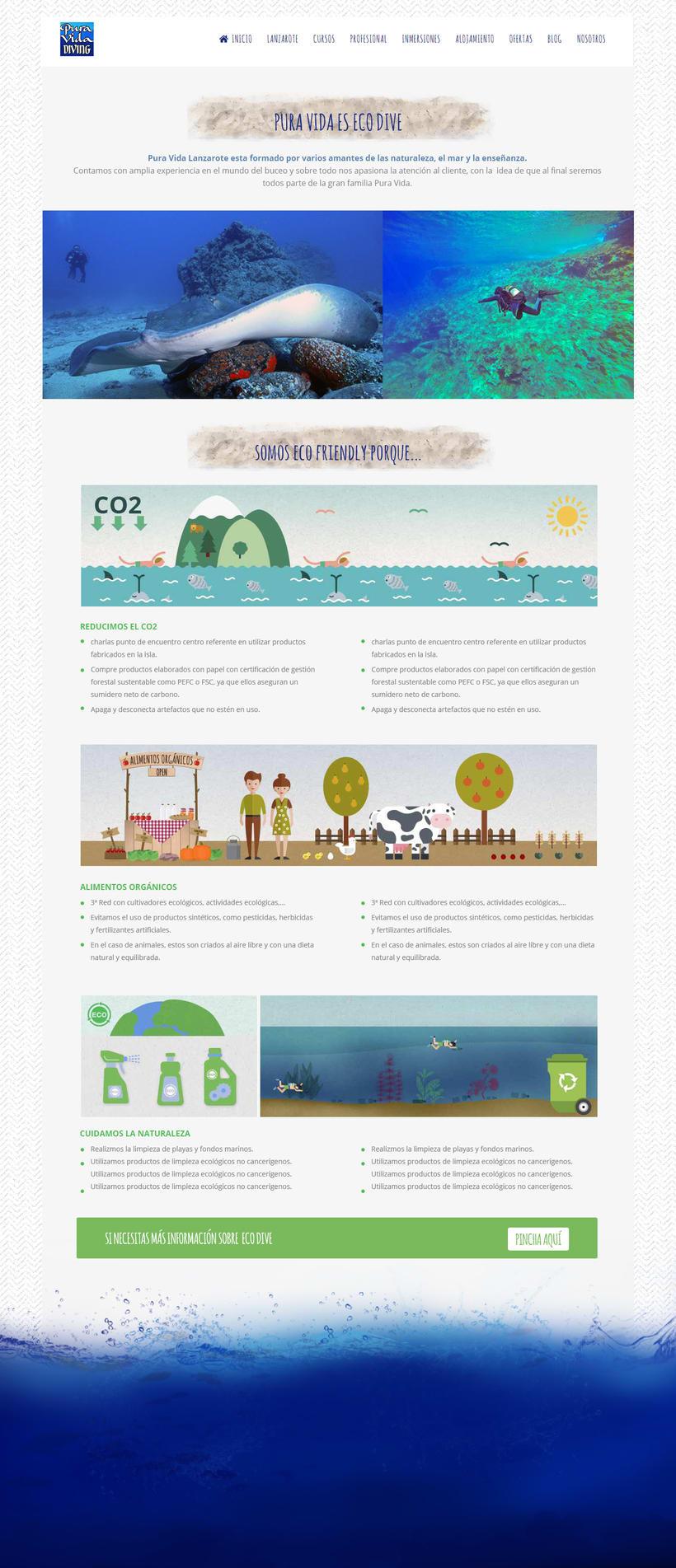 Diseño y desarrollo web en Wordpress para Pura Vida Lanzarote Diving 0