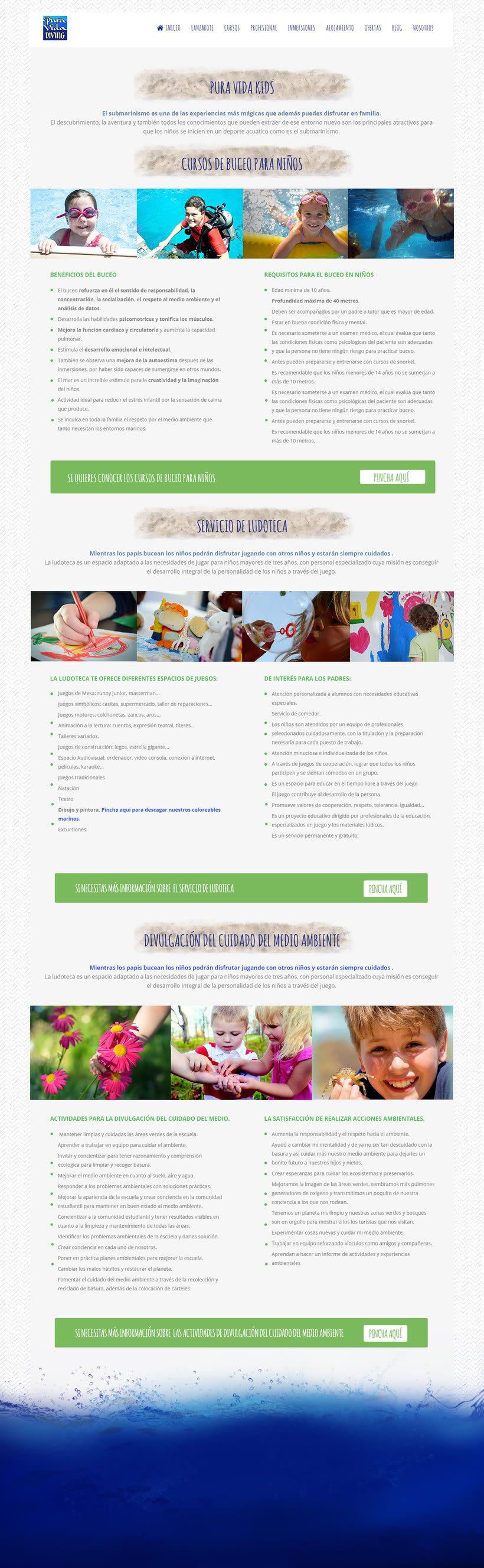 Diseño y desarrollo web en Wordpress para Pura Vida Lanzarote Diving 1