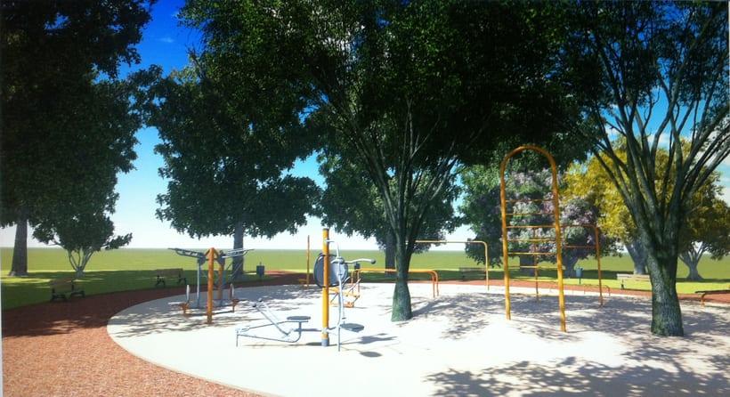 Renders. Presentación del proyecto de un parque infantil. 0