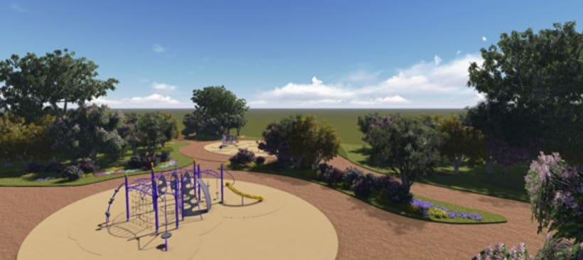 Renders. Presentación del proyecto de un parque infantil. 1