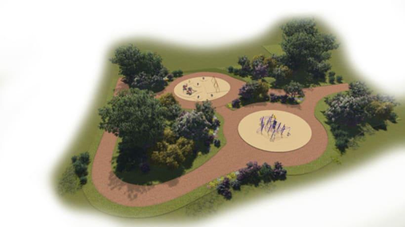 Renders. Presentación del proyecto de un parque infantil. 2