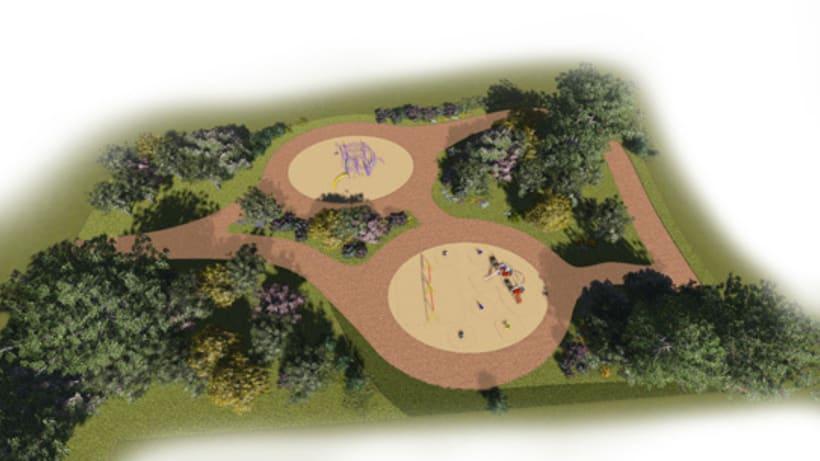 Renders. Presentación del proyecto de un parque infantil. 3