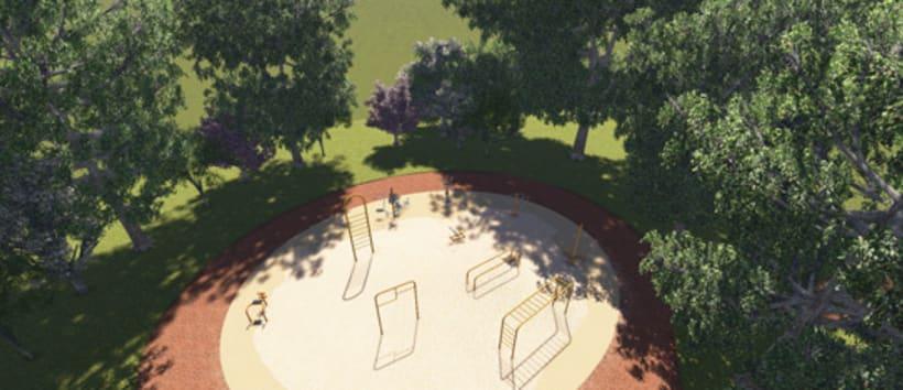 Renders. Presentación del proyecto de un parque infantil. 4
