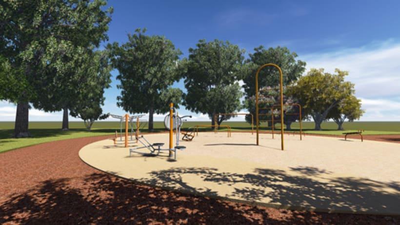 Renders. Presentación del proyecto de un parque infantil. 5
