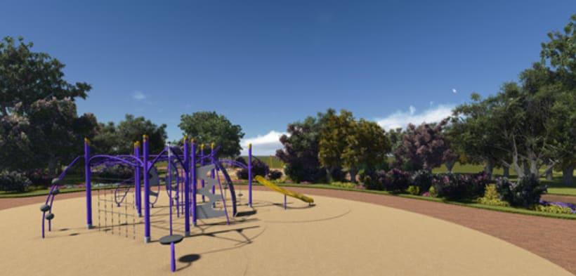 Renders. Presentación del proyecto de un parque infantil. 6