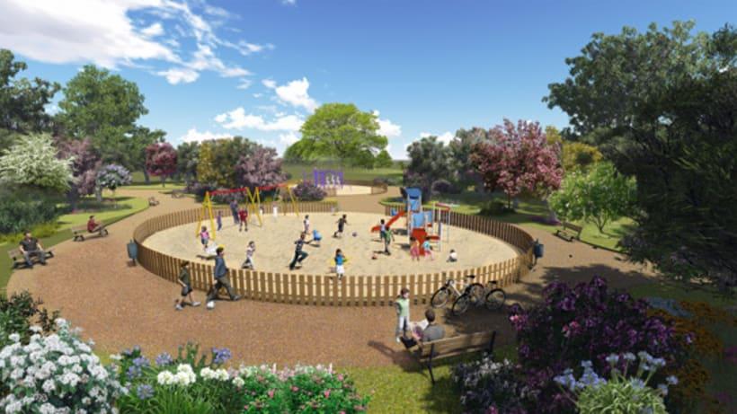 Renders. Presentación del proyecto de un parque infantil. 8