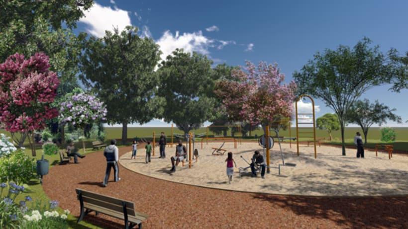 Renders. Presentación del proyecto de un parque infantil. 9