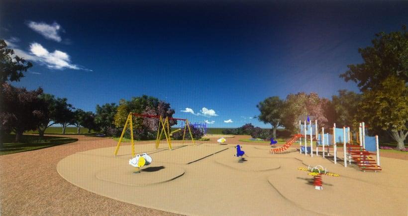 Renders. Presentación del proyecto de un parque infantil. 10