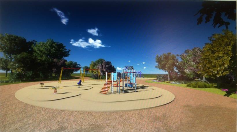 Renders. Presentación del proyecto de un parque infantil. 11