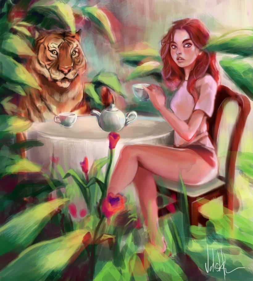 chica y tigre tomando el té, caperucita roja, digital paintings. -1