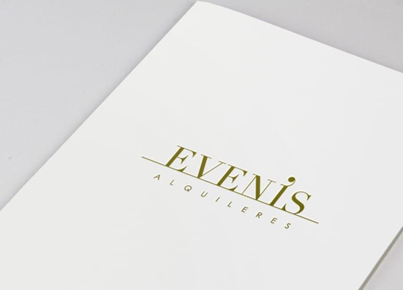 Diseño de logotipo para Evenis, una empresa que se dedica al alquiler de material para eventos. El concepto que se busca es el de convertir a las letras en elementos que simbolizan los diferentes artículos que se ofrecen para su alquiler. -1