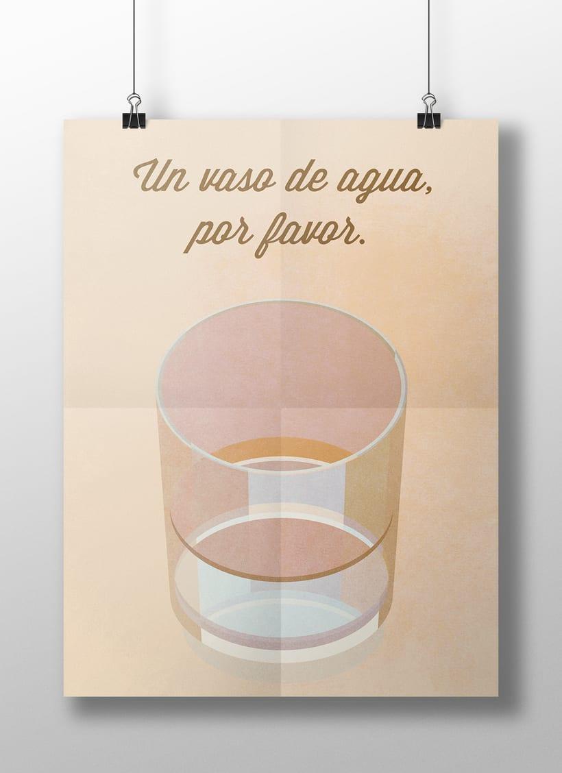 "Cartel ""Un vaso de agua"" 4"